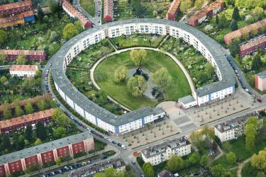 Luftbild der Hufeisensiedlung Berlin